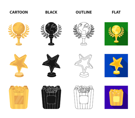 A gold prize in the form of a star, a gold globe and other prizes.Movie awards set collection icons in cartoon,black,outline,flat style vector symbol stock illustration web. Stock Illustratie