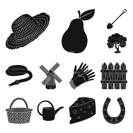 Iconos negros de granja y jardinería en conjunto para el diseño. Granja y equipo vector símbolo stock web ilustración.