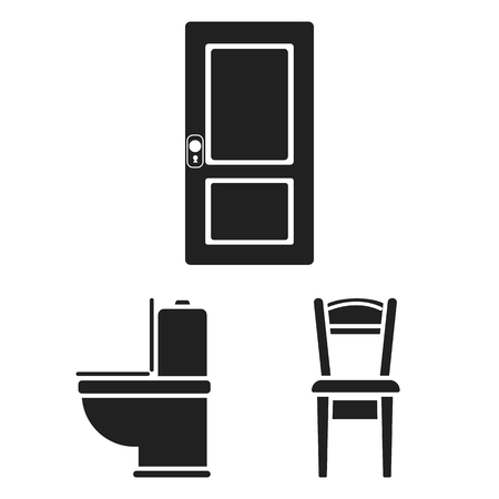 Furniture and interior black icons in set collection for design.Home furniture vector symbol stock web illustration.