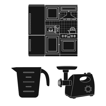 Kitchen equipment black icons in set collection for design. Kitchen and accessories vector symbol stock web illustration.
