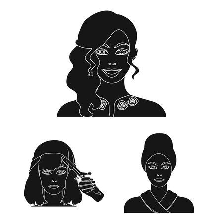 Care of hair and face black icons in set collection for design. Perfumes and makeup vector symbol stock web illustration.