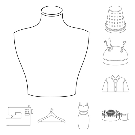 Atelier and sewing outline icons in set collection for design. Equipment and tools for sewing vector symbol stock web illustration.