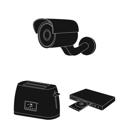 Smart home appliances black icons in set collection for design. Modern household appliances vector symbol stock web illustration.