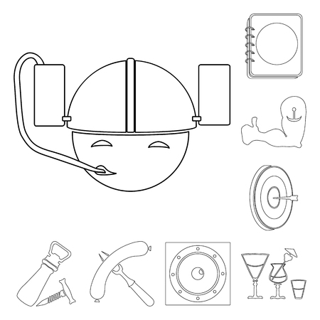 Pub, interior and equipment outline icons in set collection for design. Alcohol and food vector symbol stock web illustration.