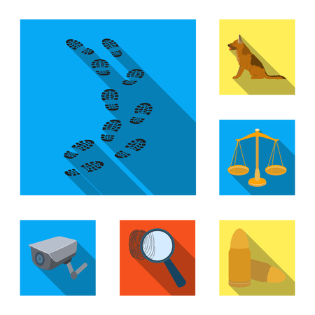 Prison and the criminalflat icons in set collection for design.Prison and Attributes vector symbol stock web illustration. Çizim