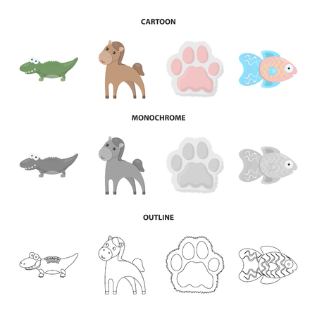 An unrealistic cartoon,outline,monochrome animal icons in set collection for design. Toy animals vector symbol stock web illustration. Illustration