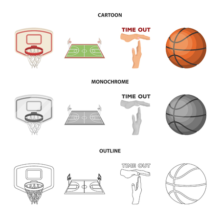 Basketball and attributes cartoon,outline,monochrome icons in set collection for design.Basketball player and equipment vector symbol stock web illustration.