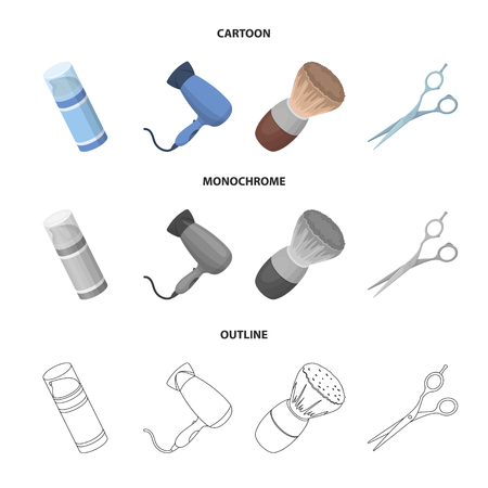 Brush, scissors, electric hair dryer and other equipment for men hairdressing salon.Barbershop set collection icons in cartoon,outline,monochrome style vector symbol stock illustration web.