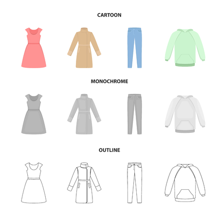 Dress with short sleeves, trousers, coats, raglan.Clothing set collection icons in cartoon,outline,monochrome style vector symbol stock illustration web.