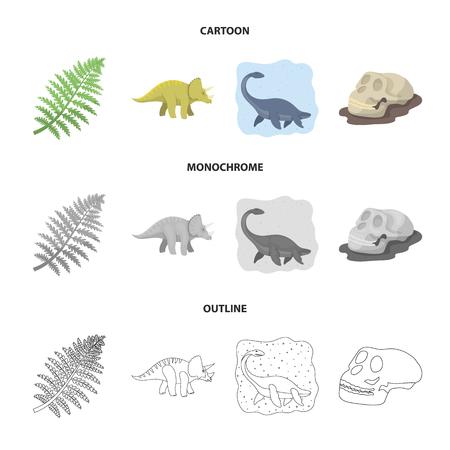 Sea dinosaur,triceratops, prehistoric plant, human skull. Dinosaur and prehistoric period set collection icons in cartoon,outline,monochrome style vector symbol stock illustration web.