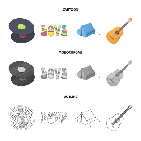 Vinyl discs, guitar, tent.Hippy set collection icons in cartoon,outline,monochrome style vector symbol stock illustration web.