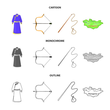 .mongol dressing gown, battle bow, theria on the map, Urga, Khlyst. Mongolia set collection icons in cartoon,outline,monochrome style vector symbol stock illustration web. Иллюстрация