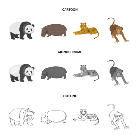 Bamboo bear, hippopotamus, wild animal tiger, monkey . Wild animal set collection icons in cartoon,outline,monochrome style vector symbol stock illustration web.