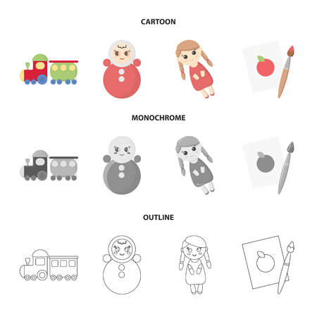 Train.kukla, picture.Toys set collection icons in cartoon,outline,monochrome style vector symbol stock illustration web. Çizim