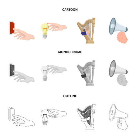 Electric switch button, incandescent lamp and other web icon in cartoon,outline,monochrome style. harp playing, Megaphone in hand icons in set collection.