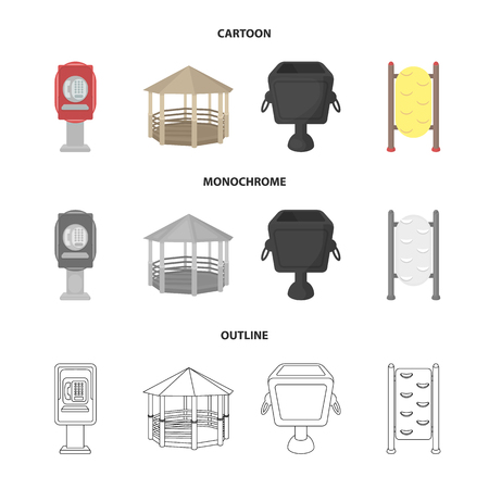 Telephone automatic, gazebo, garbage can, wall for children. Park set collection icons in cartoon,outline,monochrome style vector symbol stock illustration web.