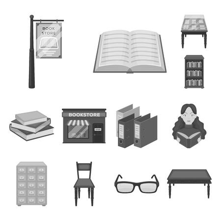 Biblioteca y librería monocromo iconos de colección set de diseño. Libros y muebles vector ilustración de símbolo stock web.