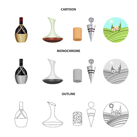 A bottle of wine in a basket, a gafine, a corkscrew with a cork, a grape valley. Wine production set collection icons in cartoon,outline,monochrome style vector symbol stock illustration web. Foto de archivo - 106701925