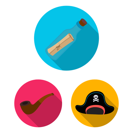 Pirate, sea robber flat icons in set collection for design. Treasures, attributes bitmap symbol stock web illustration.