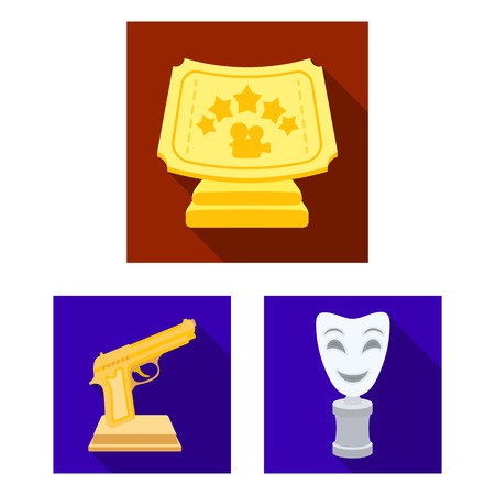 Film awards and prizes flat icons in set collection for design. The World Film Academy bitmap symbol stock web illustration.