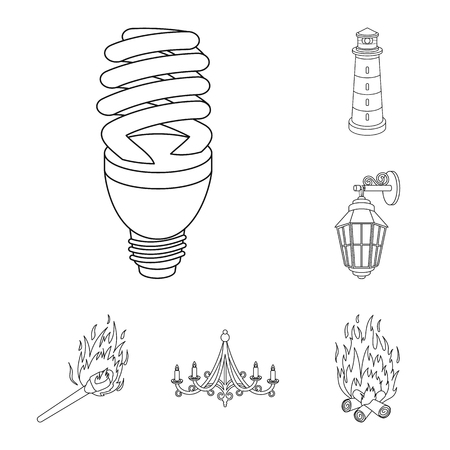Light source outline icons in set collection for design. Light and equipment bitmap symbol stock web illustration. Stock Photo