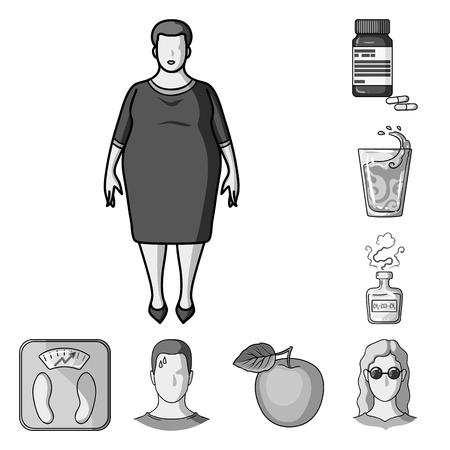 Diabetes monochrome icons in set collection for design. Treatment of diabetes bitmap symbol stock  illustration.