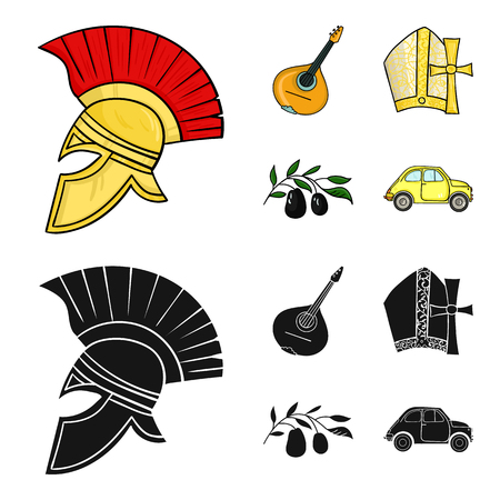 Mandolin, papa, olive, retro auto.Italy country set collection icons in cartoon,black style bitmap symbol stock illustration .