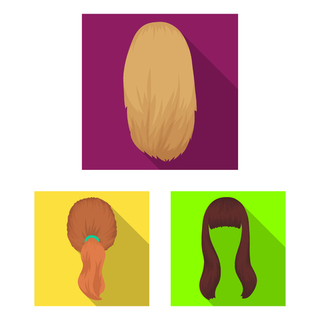 Female hairstyle flat icons in set collection for design. Stylish haircut bitmap symbol stock  illustration. Фото со стока - 106702641