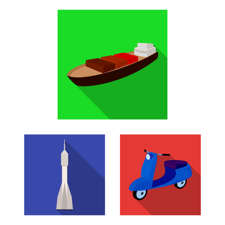 Different types of transport flat icons in set collection for design. Car and ship bitmap symbol stock  illustration. 版權商用圖片