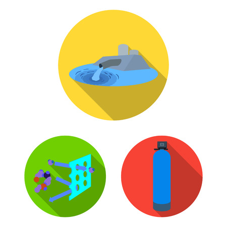 Water filtration system flat icons in set collection for design. Cleaning equipment bitmap symbol stock  illustration.