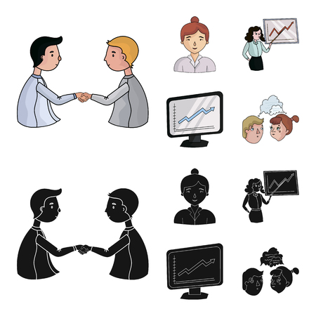 Businesswoman, growth charts, brainstorming.Business-conference and negotiations set collection icons in cartoon,black style bitmap symbol stock illustration .