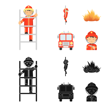 Fireman, flame, fire truck. Fire department set collection icons in cartoon,black style bitmap symbol stock illustration .