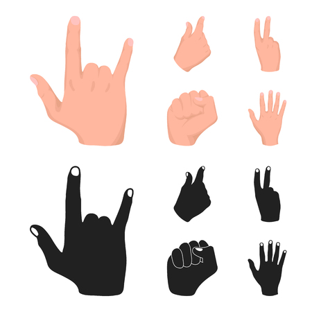 Open fist, victory, miser. Hand gesture set collection icons in cartoon,black style bitmap symbol stock illustration . Stock fotó