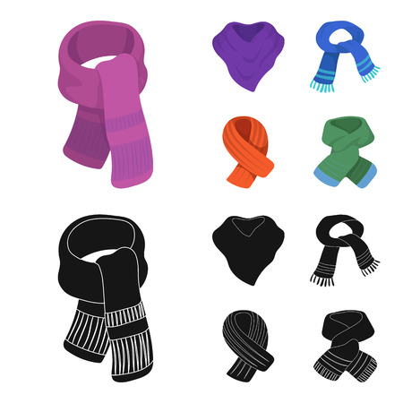 Various kinds of scarves, scarves and shawls. Scarves and shawls set collection icons in cartoon,black style bitmap symbol stock illustration web. Stockfoto