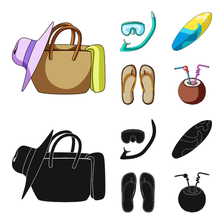 Diving, surfing, cocktail.Summer vacation set collection icons in cartoon,black style bitmap symbol stock illustration web.