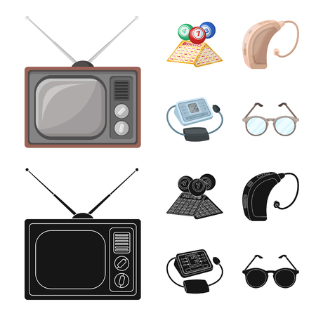 Lottery, hearing aid, tonometer, glasses.Old age set collection icons in cartoon,black style bitmap symbol stock illustration web. Stock Photo