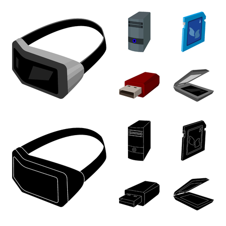 A system unit, a flash drive, a scanner and a SD card. Personal computer set collection icons in cartoon,black style bitmap symbol stock illustration web.
