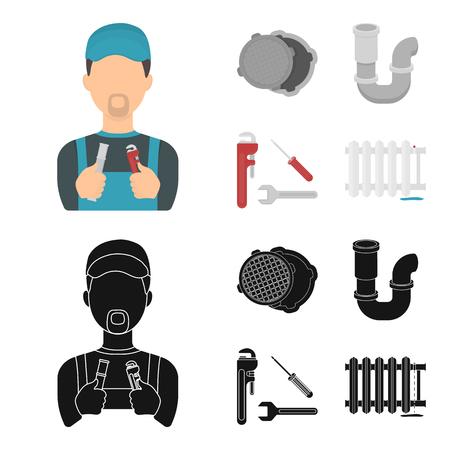 Sewage hatch, tool, radiator.Plumbing set collection icons in cartoon,black style bitmap symbol stock illustration web.