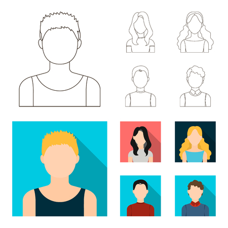 Girl with long hair, blond, curly, gray-haired man.Avatar set collection icons in outline,flat style bitmap symbol stock illustration web.