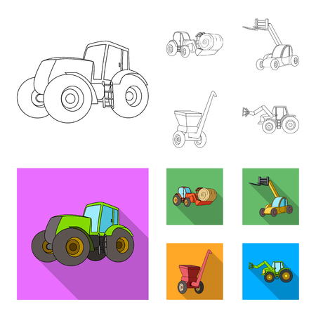Tractor, hay balancer and other agricultural devices. Agricultural machinery set collection icons in outline,flat style bitmap symbol stock illustration web.