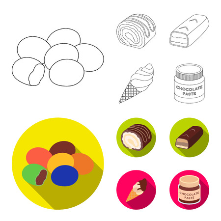 Dragee, roll, chocolate bar, ice cream. Chocolate desserts set collection icons in outline,flat style bitmap symbol stock illustration web.
