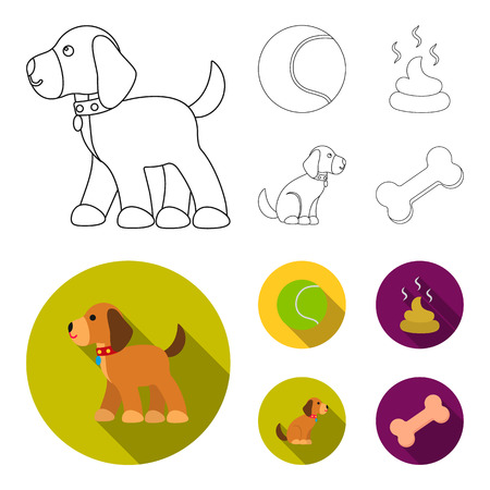 Dog sitting, dog standing, tennis ball, feces. Dog set collection icons in outline,flat style bitmap symbol stock illustration web.