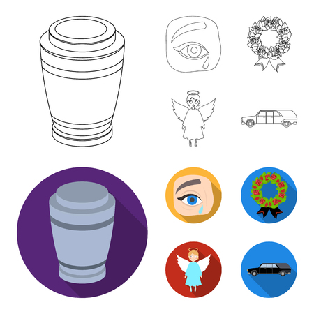 The urn with the ashes of the deceased, the tears of sorrow for the deceased at the funeral, the mourning wreath, the angel of death. Funeral ceremony set collection icons in outline,flat style bitmap symbol stock illustration web.