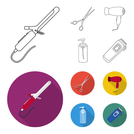 Hairdryer, hair dryer, lotion, scissors. Hairdresser set collection icons in outline,flat style bitmap symbol stock illustration web. Stock Photo