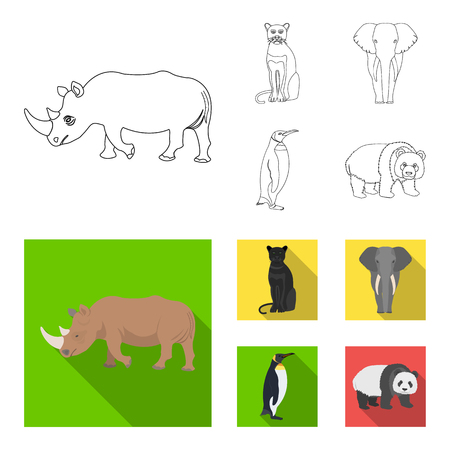 Black rhinoceros, panther wild cat, African animal elephant, imperial penguin. Wild animals set collection icons in outline,flat style bitmap symbol stock illustration web. Stock Photo