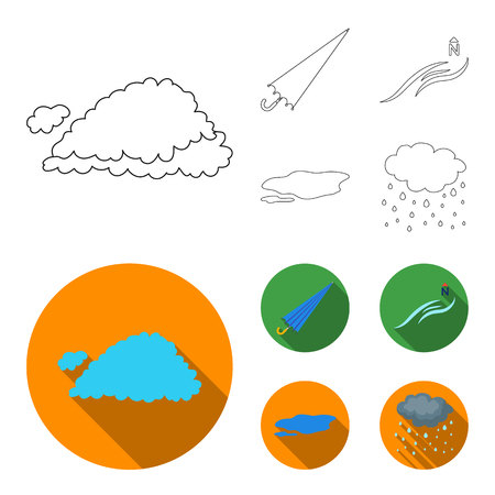 Cloud, umbrella, the north wind, a puddle on the ground. The weather set collection icons in outline,flat style bitmap symbol stock illustration web.