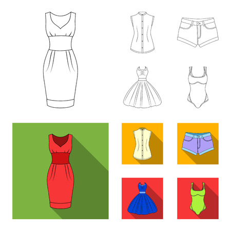 Women Clothing outline,flat icons in set collection for design.Clothing Varieties and Accessories bitmap symbol stock web illustration. Stock Photo