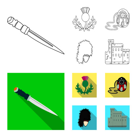National Dirk Dagger, Thistle National Symbol, Sporran,glengarry.Scotland set collection icons in outline,flat style bitmap symbol stock illustration web.