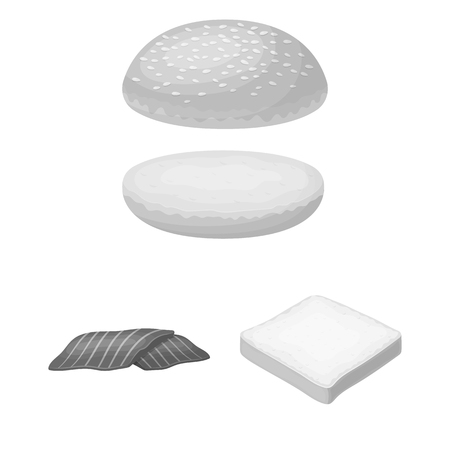 Burger and ingredients monochrome icons in set collection for design. Burger cooking vector symbol stock  illustration.