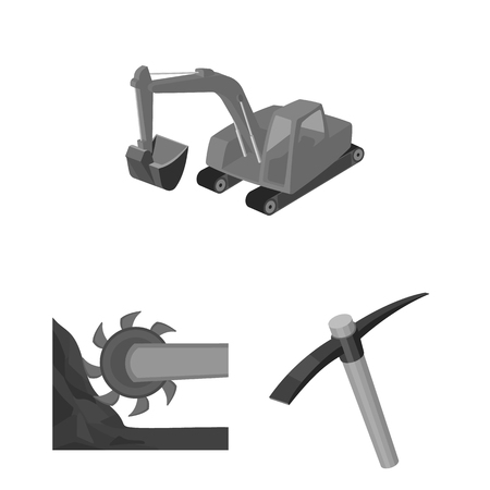Mining industry monochrome icons in set collection for design. Equipment and tools vector symbol stock  illustration. Vectores